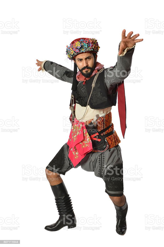 Turkish folklore outfit - efe - zeybek stock photo