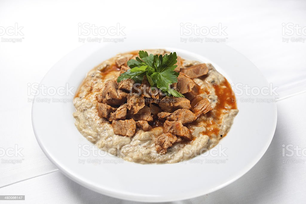 Turkish Food Eggplant and Meat: Hunkar Begendi stock photo