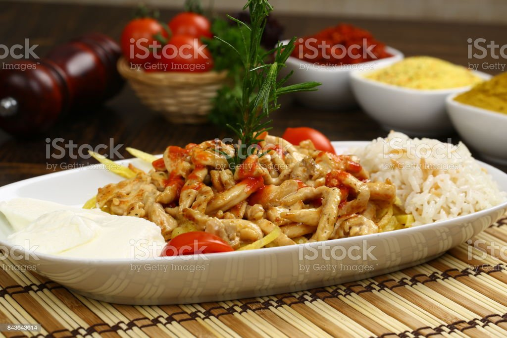 Turkish Food Kebab, Chicken meat with rice and yogurt stock photo