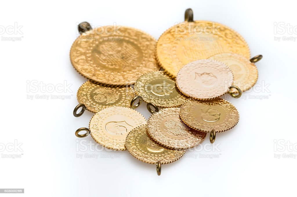 Turkish gold coins stock photo