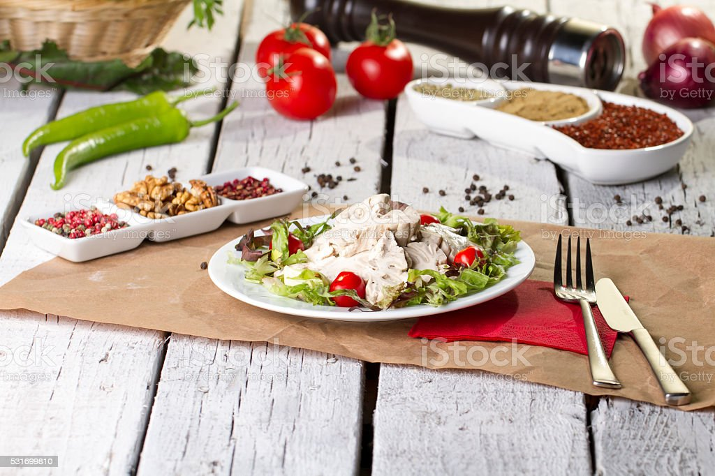 Turkish, Greek and Arabic Traditional salad raw sheep brain stock photo