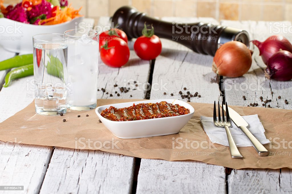 Turkish, Greek and Arabic Traditional Snack with Cheese stock photo