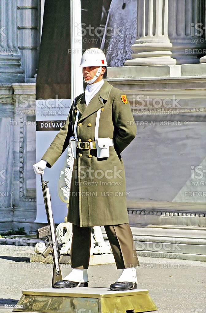 Turkish guardman near Dolmabahce palace, Istanbul, Turkey stock photo