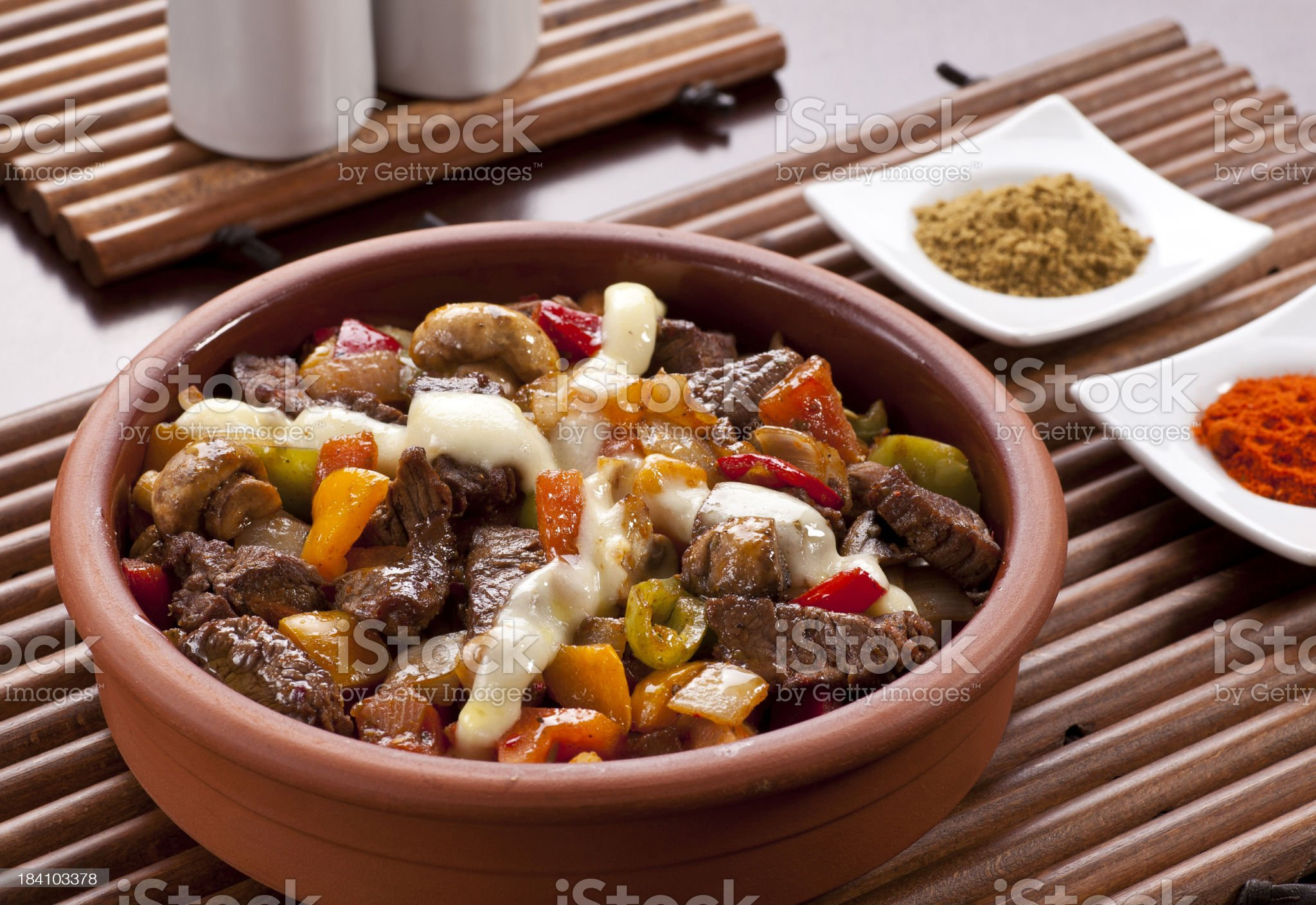 Turkish guvech (güveç) in traditional plate. royalty-free stock photo