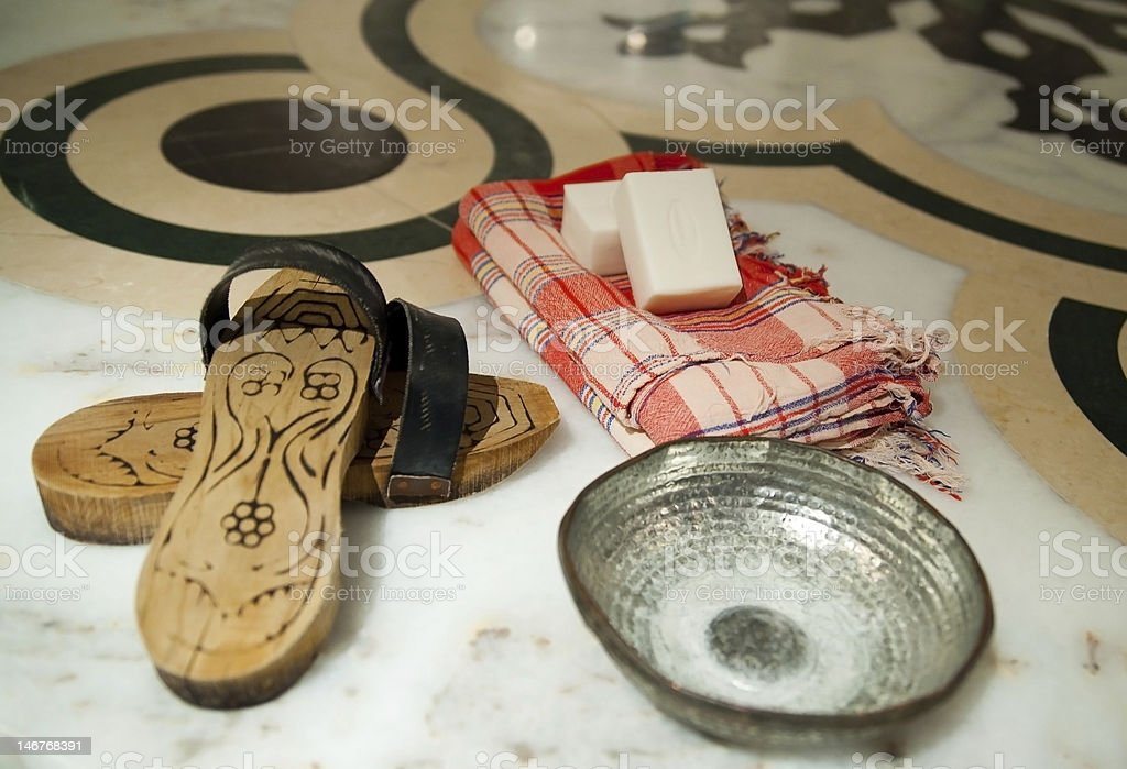 Turkish ham am spa essential laid out on the floor stock photo