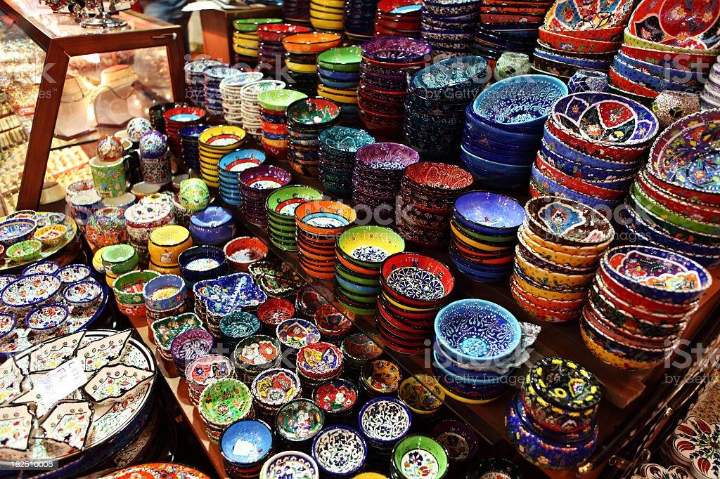 Turkish Iznik Pottery Bowl display handicraft Design Misir Spice Bazar royalty-free stock photo