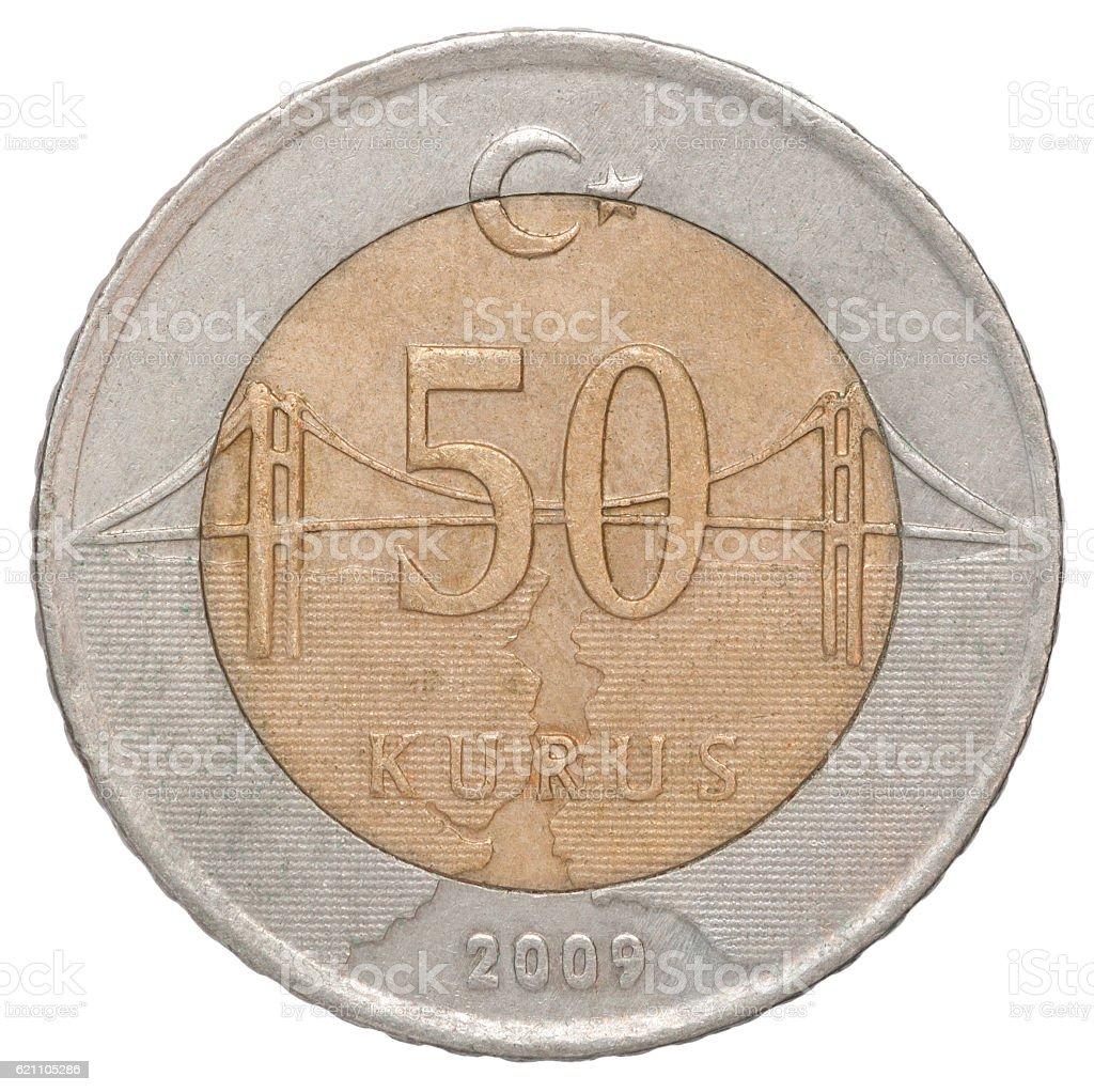 Turkish kurus coin stock photo