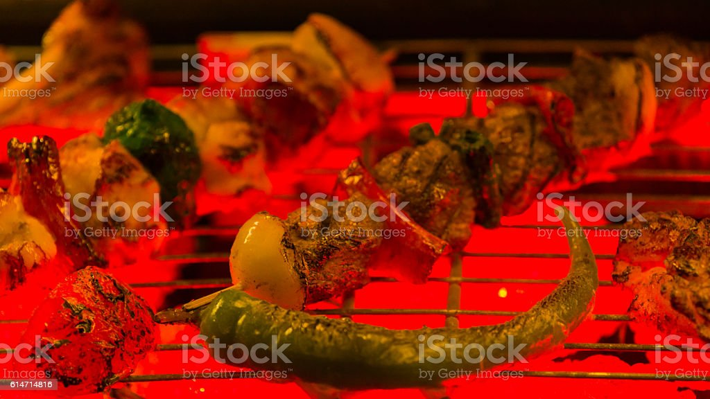 turkish lamb kebab stock photo