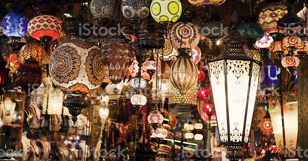 Turkish lamps at Grand Bazaar in Istanbul, Turkey royalty-free stock photo