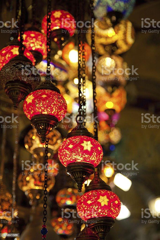 turkish lamps in grand bazaar istanbul turkiye royalty-free stock photo