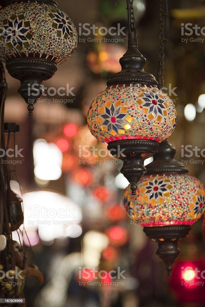 turkish lamps in grand bazaar royalty-free stock photo