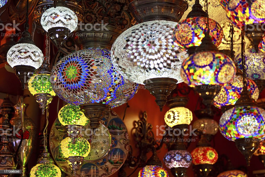 Turkish lamps in the Grand Bazaar, Istanbul, Turkey stock photo