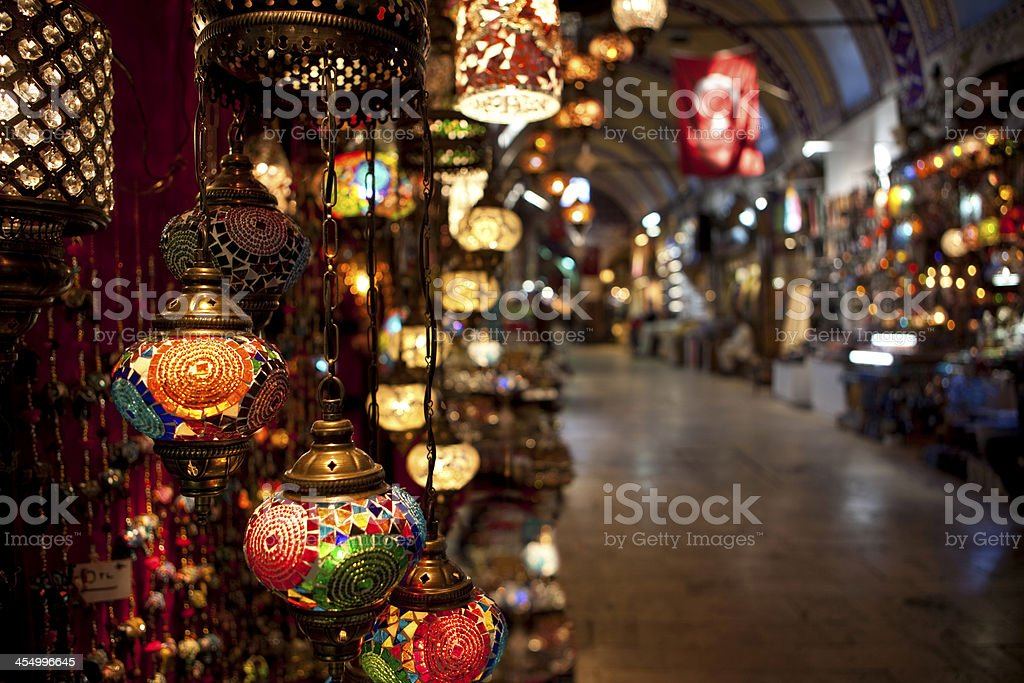 Turkish Lamps on display in the Grand Bazaar. stock photo