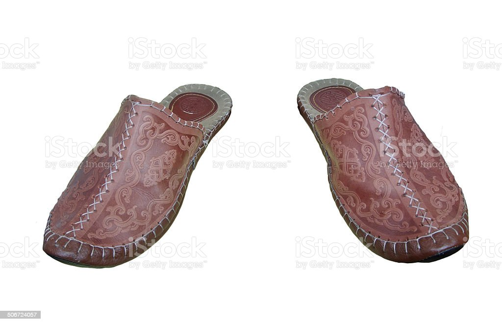 Turkish leather slippers stock photo