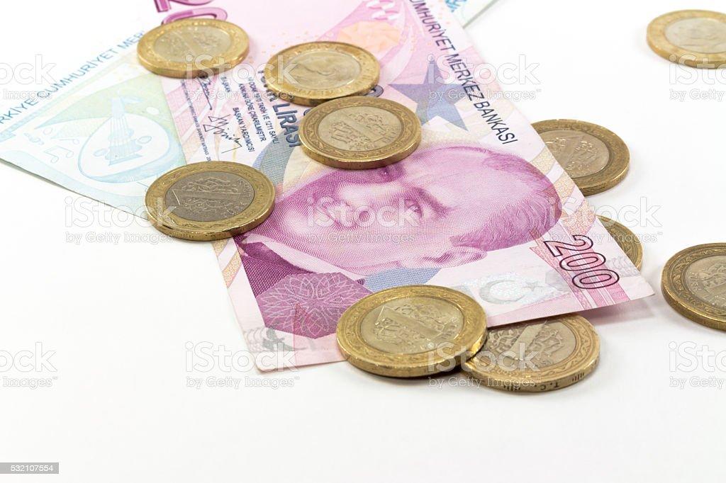 Turkish Lira Banknotes stock photo