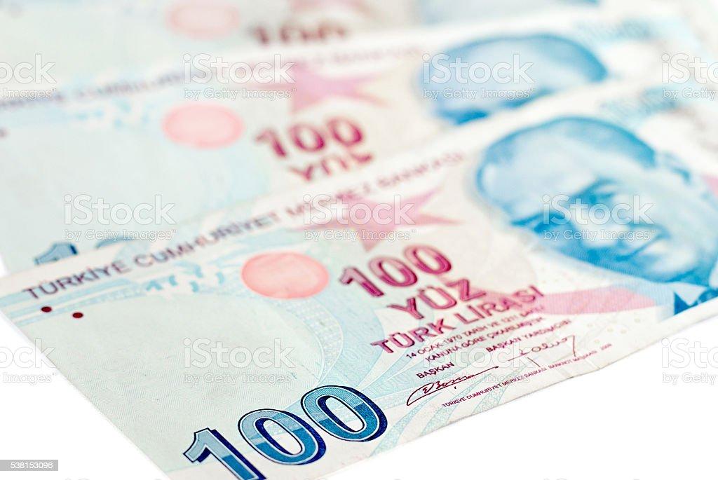 Turkish lira banknotes.money background stock photo