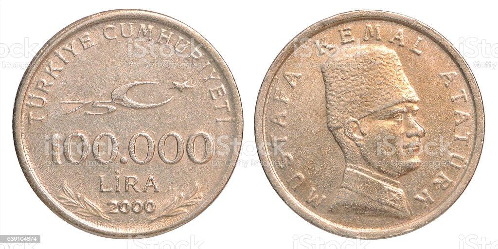 Turkish Lira coin stock photo