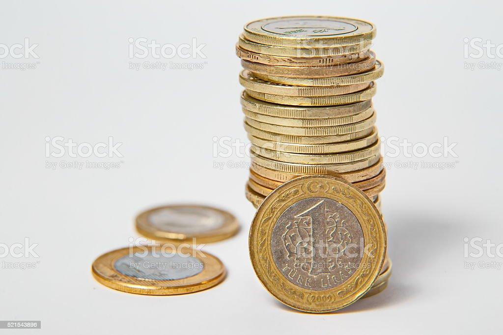 Turkish lira, coins stock photo