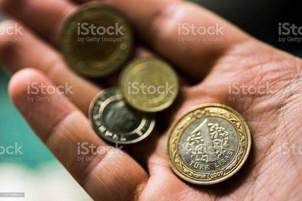 Turkish lira in hand stock photo