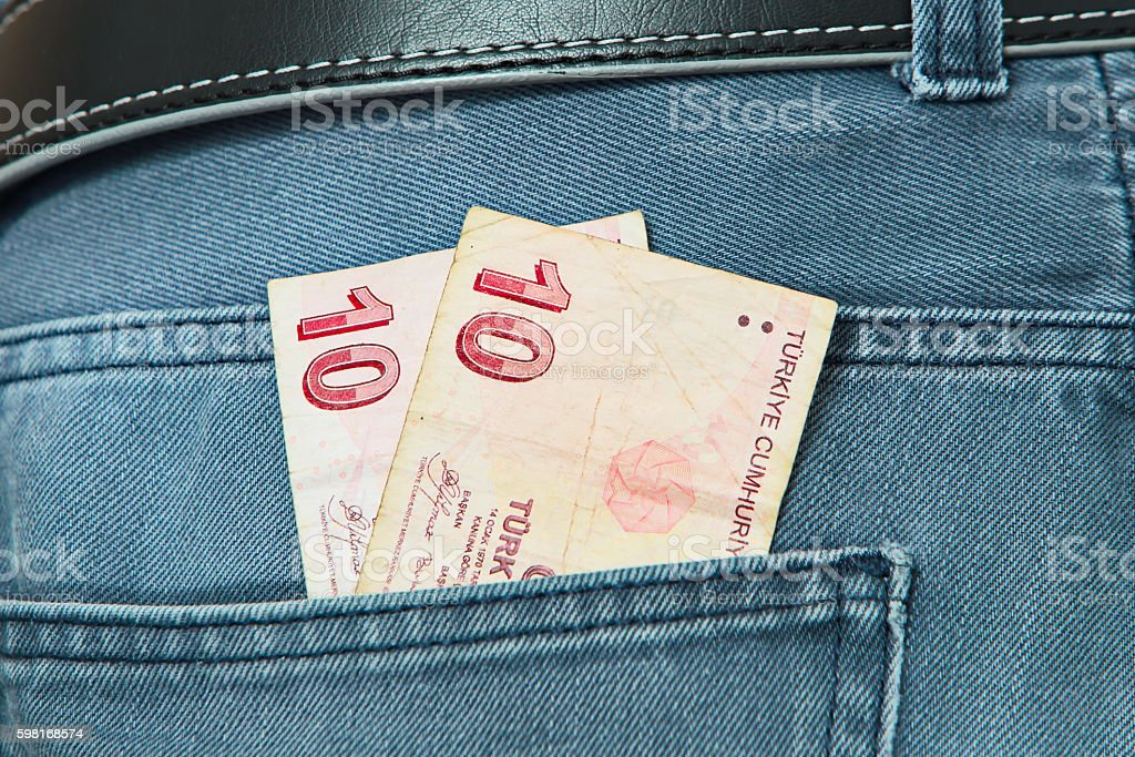 Turkish Lira in Jeans pocket stock photo