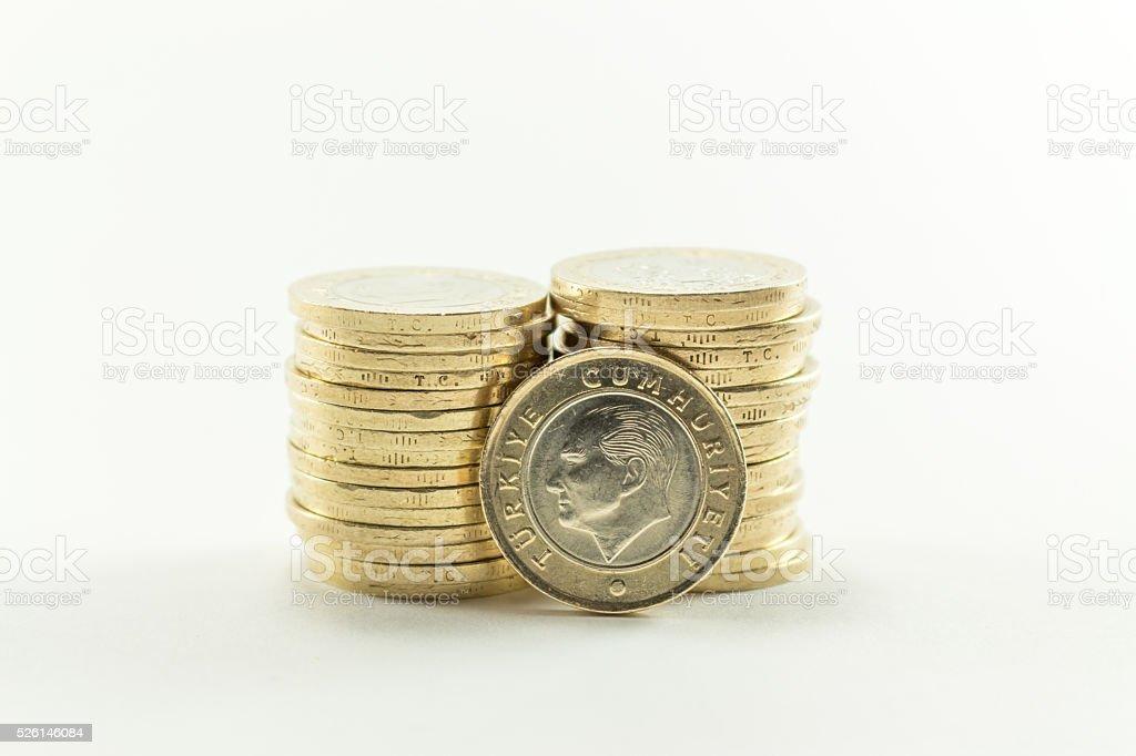 Turkish Lira - Iron Money. 1 TL stock photo