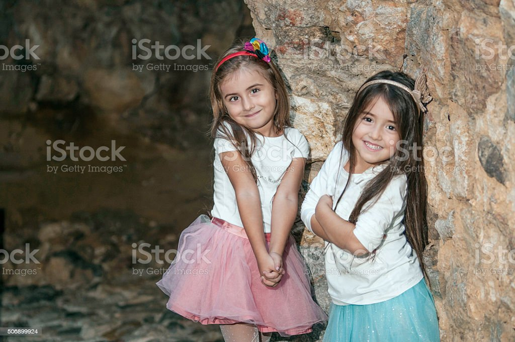 Turkish little girls on weekend stock photo