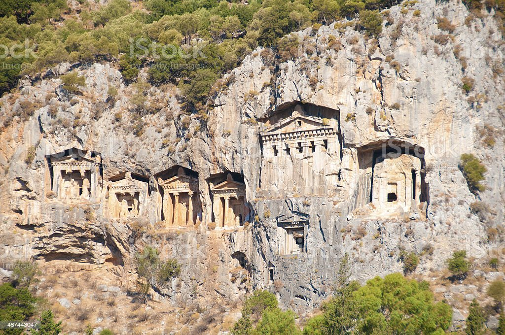 Turkish  Lycian tombs  - ancient necropolis in the mountains stock photo