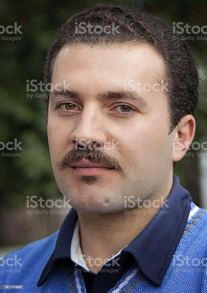 Turkish man with mustache stock photo