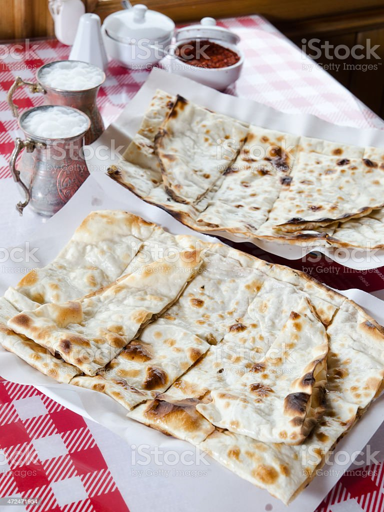 turkish meat bread and buttermilk stock photo
