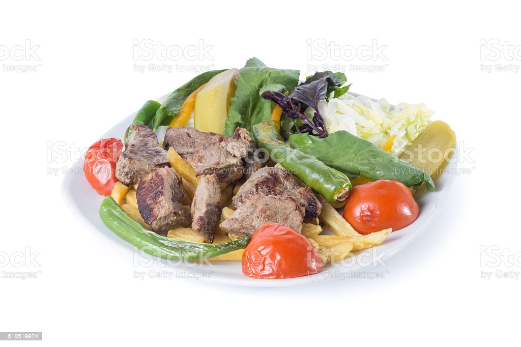 Turkish meat sish kebab, sis kebap - Clipping path inside stock photo