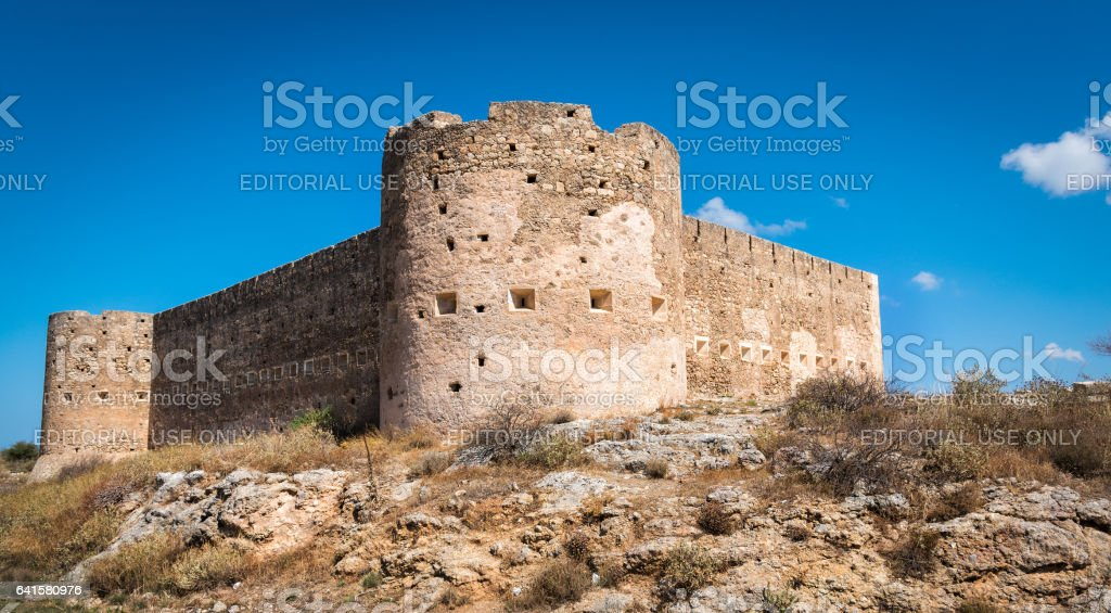 Turkish medieval fortress at Ancient Aptera in Crete, Greece stock photo