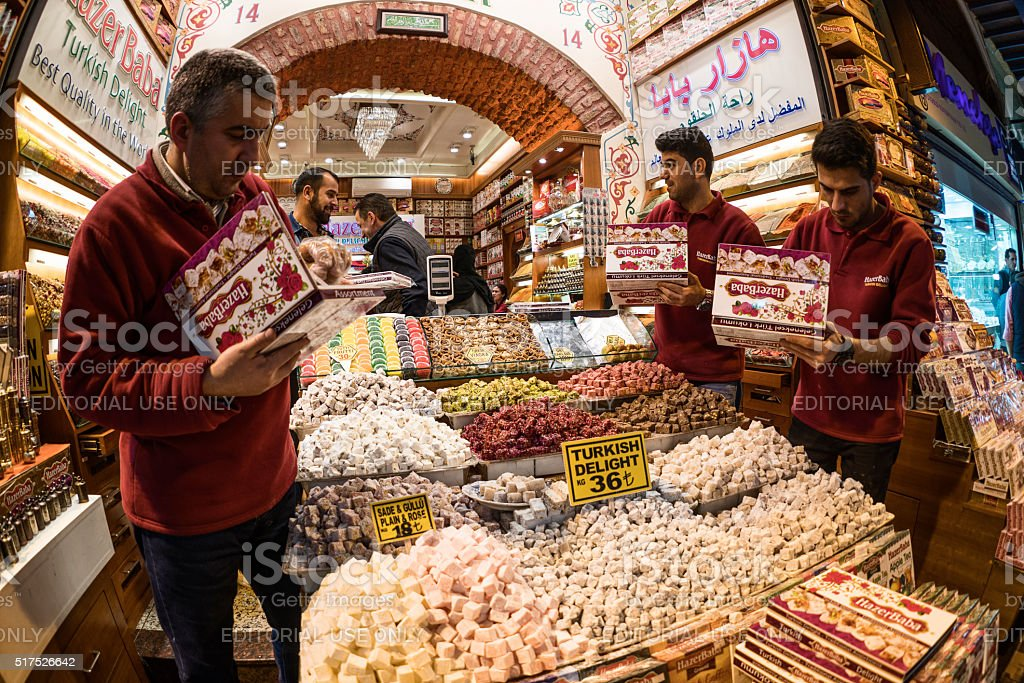 Turkish men preparing turkish delight stock photo