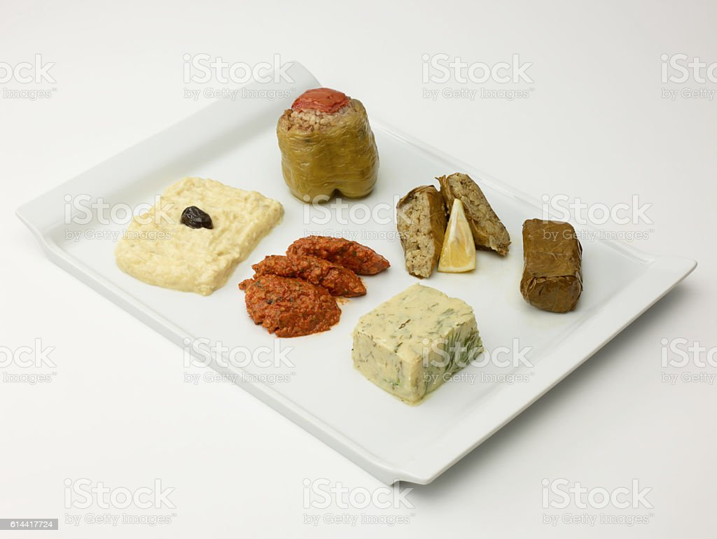 Turkish Meze Plate On White stock photo