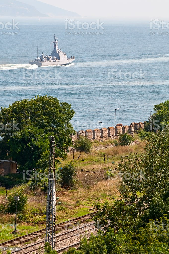 Turkish military navy ship in Bosphorus Straits Istanbul royalty-free stock photo