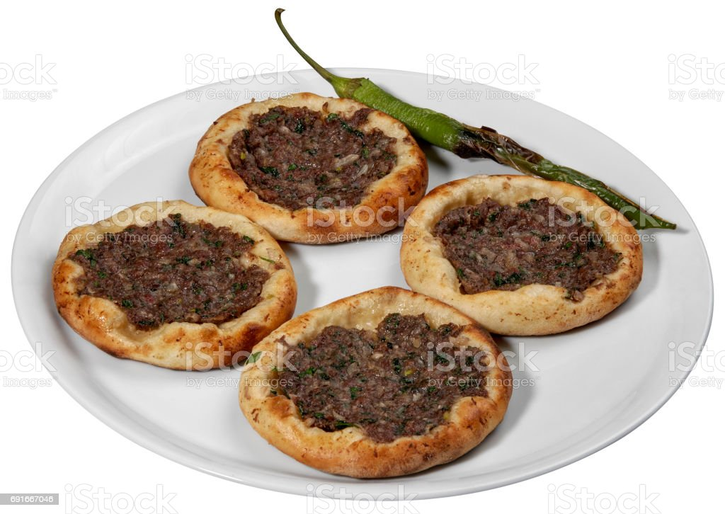 Turkish mini pizza Lahmacun,mini lahmacun, called findik lahmacun stock photo