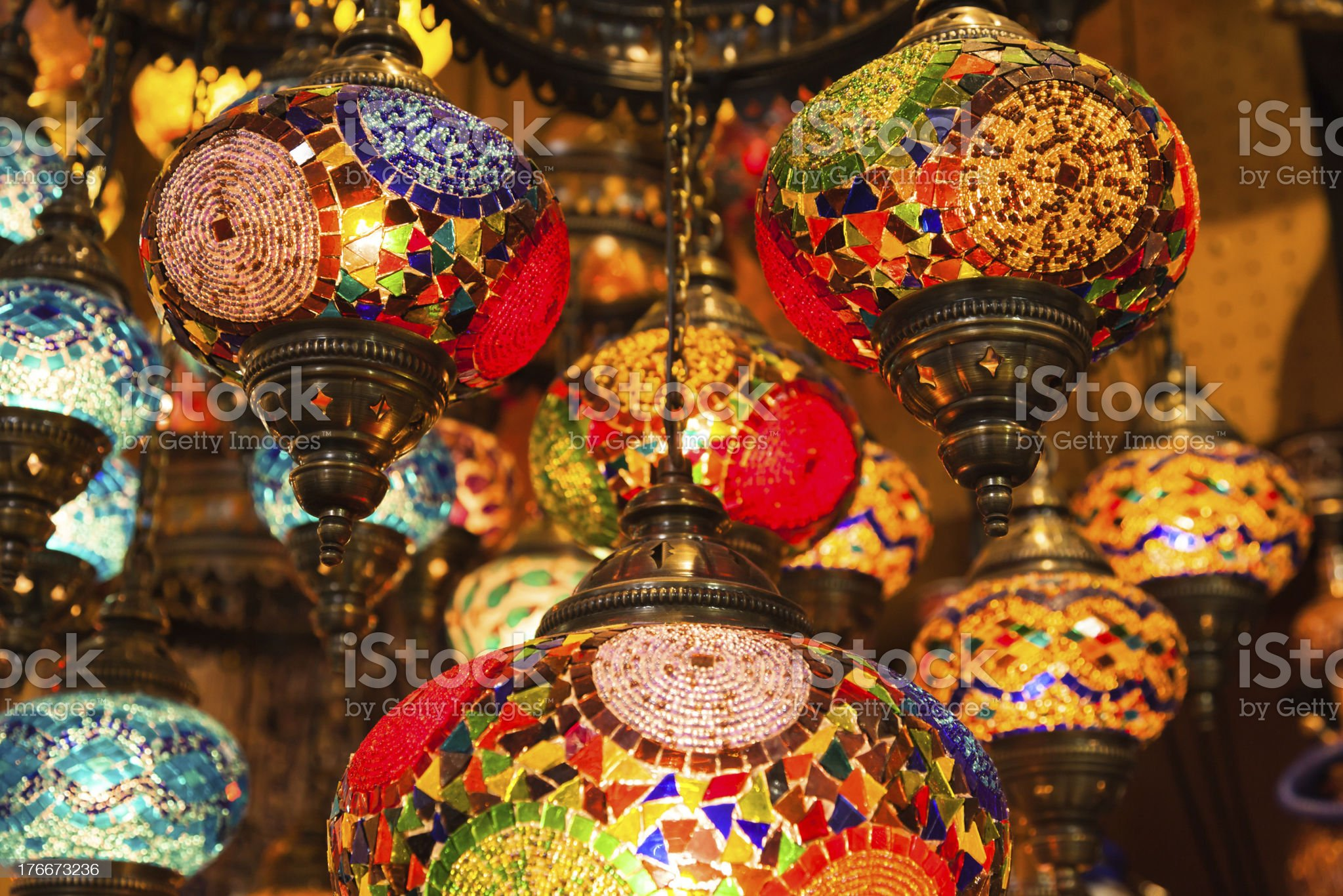 Turkish multicolour lamps royalty-free stock photo