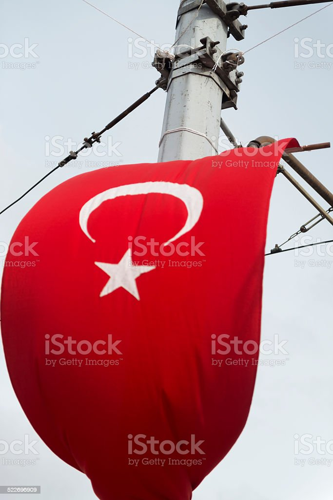 Turkish National Flag on Taxim Square, Istanbul stock photo