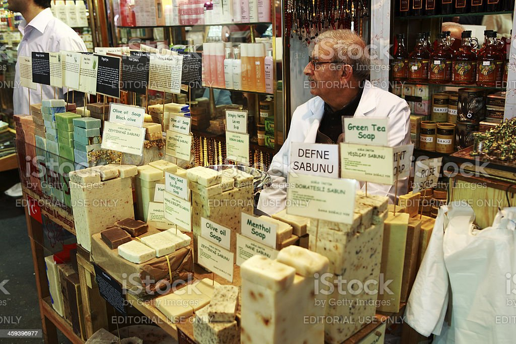 Turkish Natural Olive Oil based Soaps, Spice Bazaar Istanbul stock photo