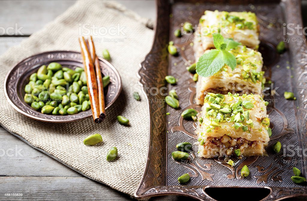 Turkish nut and phyllo pastry dessert, baklava stock photo