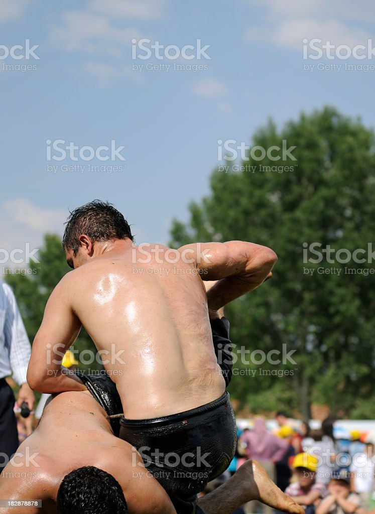 Turkish Oil Wrestling royalty-free stock photo