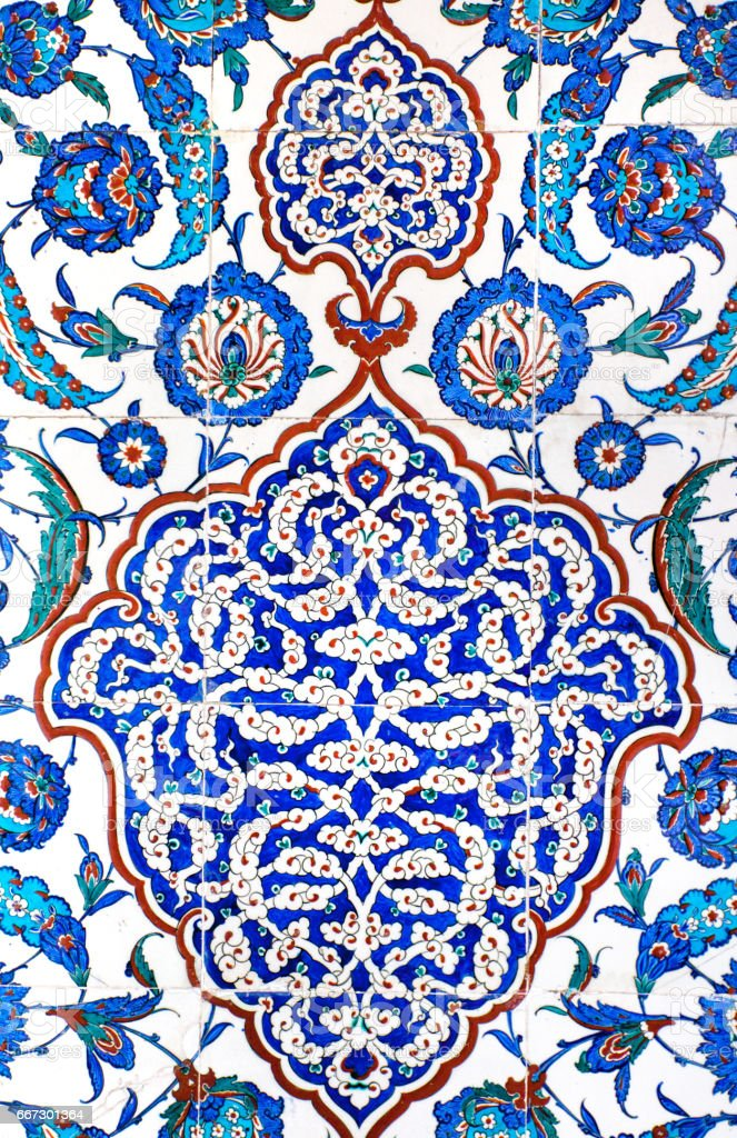Turkish ornament on the wall of the mosque stock photo