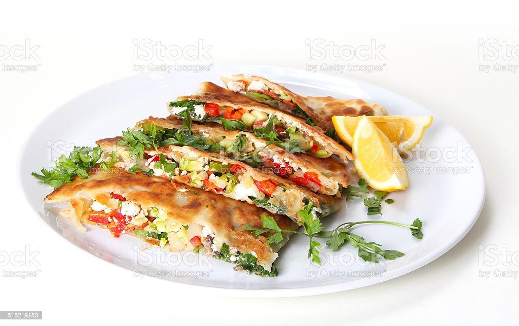 Turkish pancake gozleme stock photo