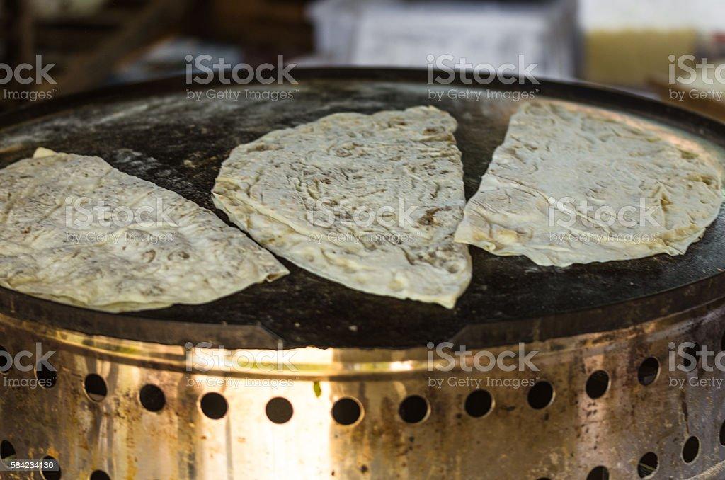 Turkish pancake. Gozleme stock photo
