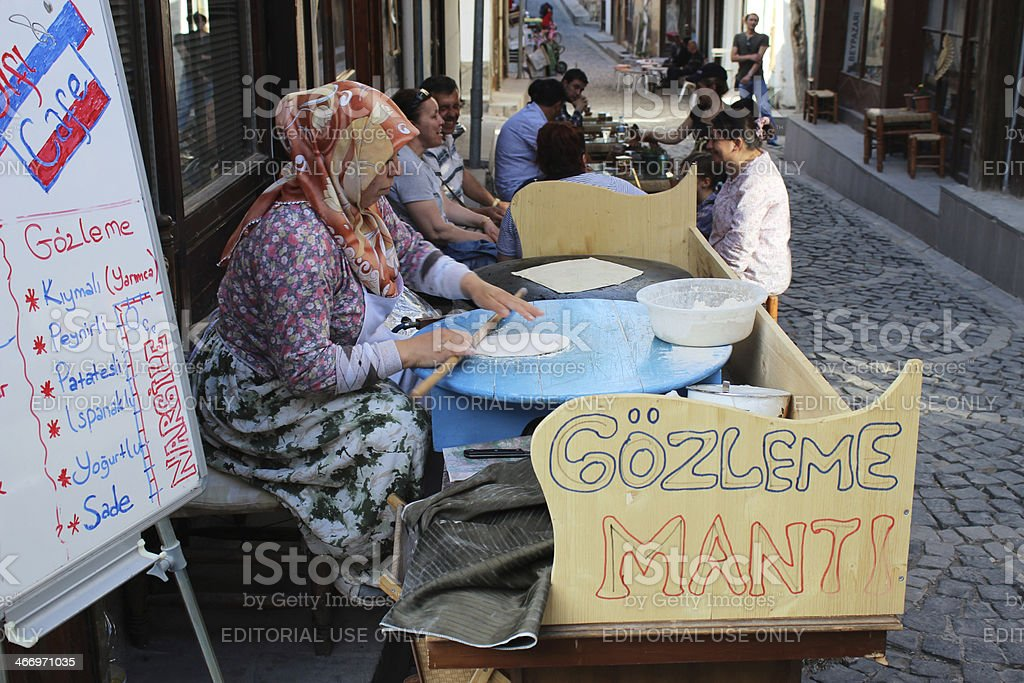 Turkish pancake seller, Beypazar?, Turkey stock photo