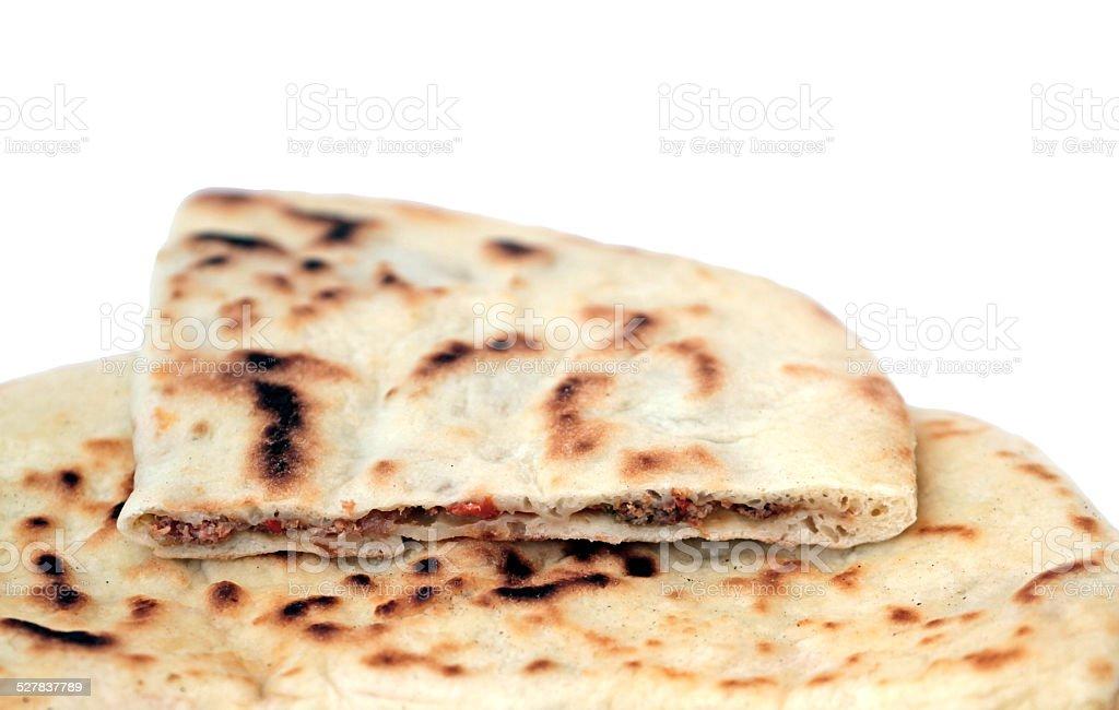 Turkish pancake with ground beef - Gozleme stock photo