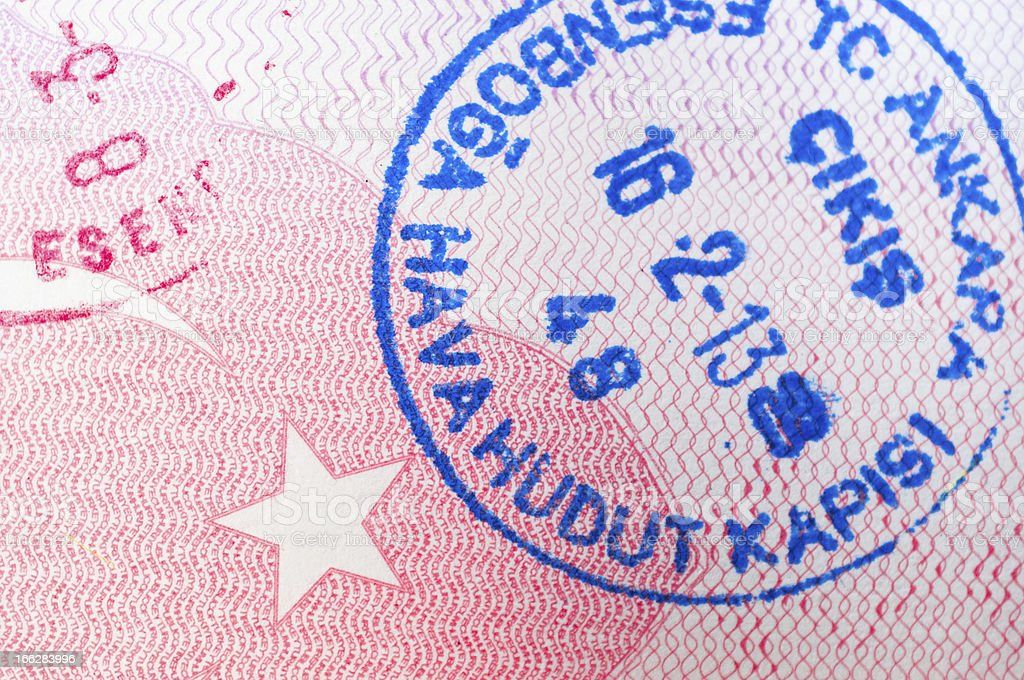 Turkish Passport stamp royalty-free stock photo