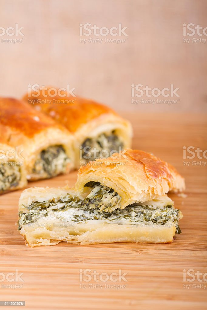 Turkish Pastry Foods on a Wooden Table stock photo