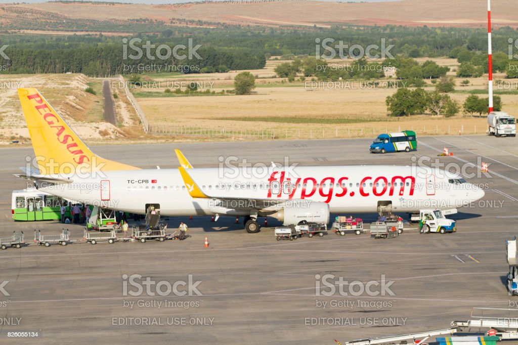 Turkish Pegasus Airlines Airplane ready for take off in Gaziantep airport stock photo