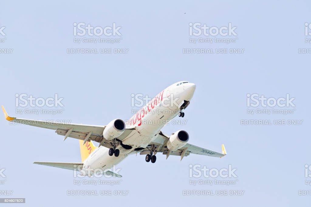 Turkish Pegasus Airplane Landing stock photo