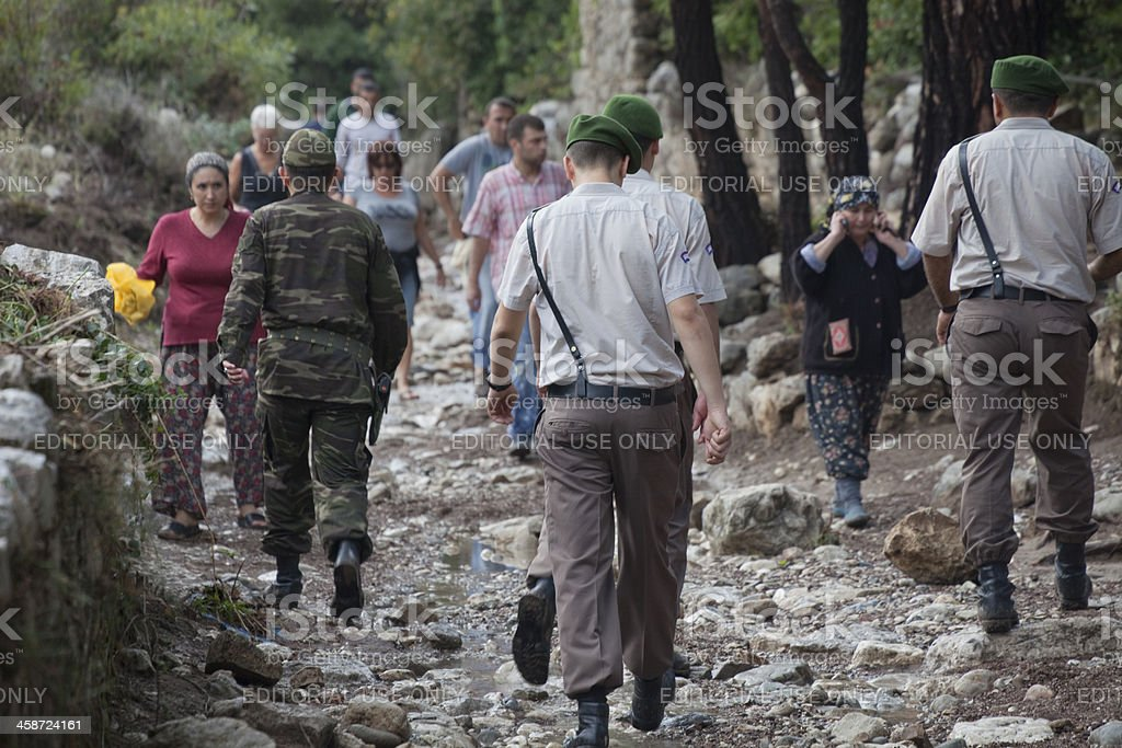 Turkish people in a hurry after Flood Disaster royalty-free stock photo